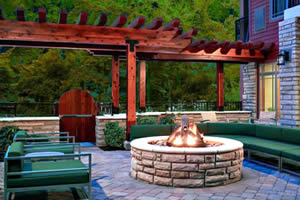 Courtyard with Fire Pit Overlooking the Pigeon River