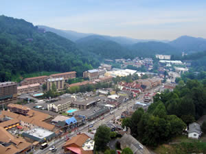 View of Downtown Gatlinburg & the Great Smoky Mts